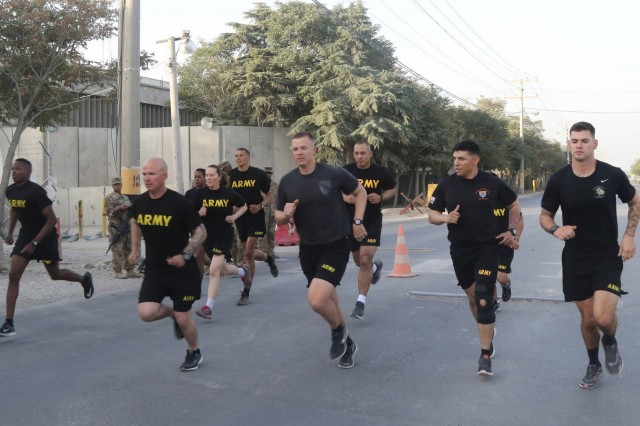 Candidates begin the two-mile run of the Army Physical Fitness Test, Aug. 9, 2018, as part of the Sergeant Audie Murphy board events in Bagram Airfield, Afghanistan. NCOs from throughout U.S. Forces Afghanistan participated in the board with the hope that the board would select to induct them into the club.