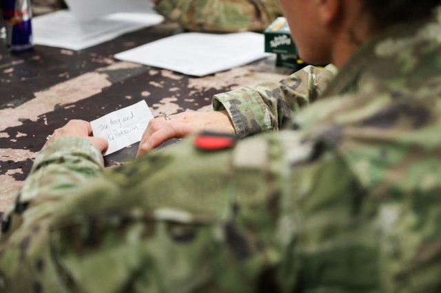 1st Sgt. Apryl Williams, senior enlisted leader for Company D, 52nd Brigade Engineer Battalion, 2nd Infantry Brigade Combat Team, 4th Infantry Division, holds a paper with a topic, Aug. 3, 2018, during a study session in Kandahar Airfield, Afghanistan in preparation for the Sergeant Audie Murphy Club board.