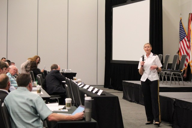 Brig. Gen. Joy L. Curriera, Director of Operations for the Assistant Chief of Staff for Installation Management addresses Army energy professionals at the Army Energy Manager Training Workshop in Cleveland, Ohio.