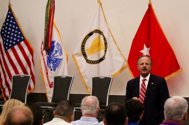 "Acting Deputy Assistant Secretary of the Army for Energy and Sustainability, Mr. J.E. ""Jack"" Surash, addresses Army energy professionals at the Army Energy Manager Training Workshop in Cleveland, Ohio."