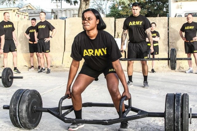 Senior leaders of the 101st Airborne Division (Air Assault) Resolute Support Sustainment Brigade participated in the Army Combat Fitness Test, Aug 14, 2018, on Bagram Airfield, Afghanistan. Master Sgt. Amy Prince participates in the dead lift event attempting to lift 280 pounds in Bagram Airfield, Afghanistan.
