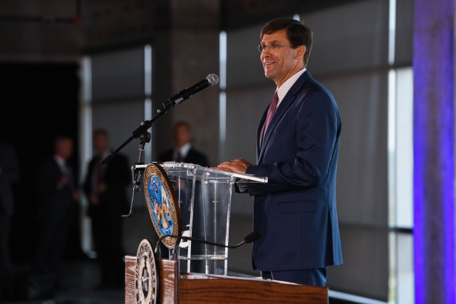Secretary of the Army Dr. Mark T. Esper spoke Aug. 24, 2018, in Austin, Texas, during activation of the Army Futures Command.