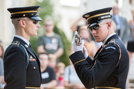 Tomb Sentinels from the 3rd U.S. Infantry Regiment (The Old Guard), conduct the Changing of the Guard at the Tomb of the Unknown Soldier at Arlington National Cemetery, Arlington, Va., Aug. 8, 2018.