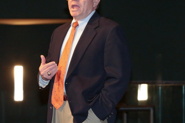COLUMBUS, Ga. (Aug. 27, 2018) - The Maneuver Center of Excellence and Fort Benning and the 199th Infantry Brigade opened the first day of its Centennial Leadership Symposium at the National Infantry Museum at Columbus, Georgia, Aug. 27, with a talk on organizational leadership. Retired Lt. Gen. Ronald Burgess Jr., current chief operational officer for Auburn University in Auburn, Alabama, and former commander of the Defense Intelligence Agency, was the first speaker during the four-day event, and he spoke about organizational leadership. (U.S. Army photo by Markeith Horace, Maneuver Center of Excellence, Fort Benning Public Affairs)