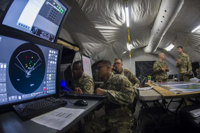 180725-N-DM338-0040 JOINT BASE PEARL HARBOR-HICKAM, Hawaii (July 24, 2018) Soldiers from 94th Army Air and Missile Defense Command, Dismounted Patriot Information Coordination Central (D-PICC) execute a simulation of Patriot engagement in support of U.S. Army Pacific's Multi-Domain Task Force Program, to demonstrate the ability to detect, and defend air and ballistic missile threats on Ford Island, Hawaii as a part of the Rim of the Pacific (RIMPAC) exercise, July 24. Twenty-five nations, 46 ships, five submarines, about 200 aircraft and 25,000 personnel are participating in RIMPAC from June 27 to Aug. 2 in and around the Hawaiian Islands and Southern California. The world's largest international maritime exercise, RIMPAC provides a unique training opportunity while fostering and sustaining cooperative relationships among participants critical to ensuring the safety of sea lanes and security of the world's oceans. RIMPAC 2018 is the 26th exercise in the series that began in 1971. (U.S. Navy photo by Mass Communication Specialist 2nd Class Nicholas A. Groesch)