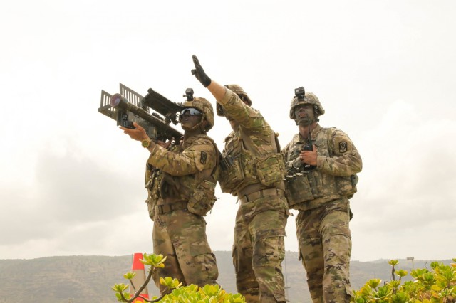 180724-A-UK347-003 PACIFIC MISSILE RANGE FACILITY BARKING SANDS, Hawaii (July 24, 2018) A stinger missile team with the with the 35th Air Defense Artillery Brigade, scans their sector before engaging an unmanned aerial vehicle target, during RIMPAC 2018 at Pacific Missile Range Facility Barking Sands, July 24. Twenty-five nations, 46 ships, five submarines, and about 200 aircraft and 25,000 personnel are participating in RIMPAC from June 27 to Aug. 2 in and around the Hawaiian Islands and Southern California. The world's largest international maritime exercise, RIMPAC provides a unique training opportunity while fostering and sustaining cooperative relationships among participants critical to ensuring the safety of sea lanes and security of the world's oceans. RIMPAC 2018 is the 26th exercise in the series that began in 1971. (U.S. Army photo by SFC Claudio Tejada/Released)