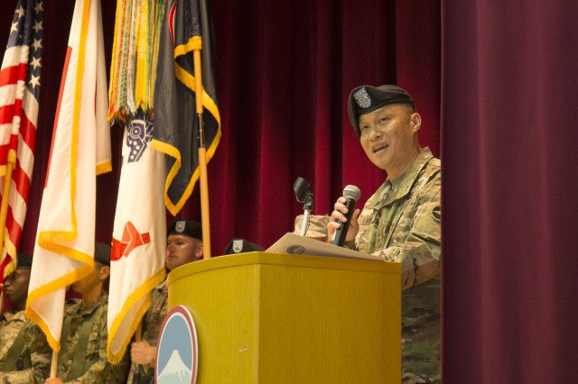 Maj. Gen. Viet X. Luong gives remarks during a ceremony Aug. 28 at Camp Zama, Japan, during which he assumed command of U.S. Army Japan, taking over from the outgoing commander, Maj. Gen. James F. Pasquarette. Luong formerly served as the deputy commanding general of operations for Eighth Army in Korea.