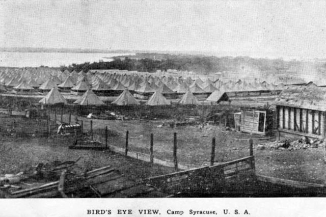 A 1917 photographs of Camp Syracuse, a recruit camp outside Syracuse, New York, shows Onondaga Lake in the background in this 1917 photograph. In 1918 2,900 of the 12,000 Soldiers had camp Syracuse developed influenza and 208 died. The virus spread from the camp to Syracuse itself where 9,00 people died in the fall of 1918.