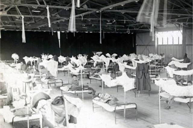 "Soldiers fill a makeshift hospital at Camp Upton, Long Island during the influenza epidemic in the fall of 1918. More than 6,100 Soldiers contracted the so-called ""Spanish Flu"" at Camp Upton in September and October 1918 and 404 died during the pandemic."