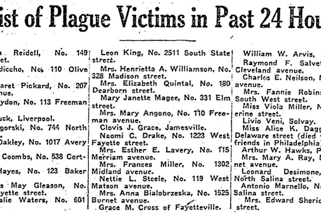 "This list of deaths from the Syracuse, N.Y. Herald in October 1918 illustrates the extent of the influenza epidemic which swept across the world in 1918. Camp Syracuse, a recruit camp outside the city on the grounds of the New York State Fair, with 12,000 Soldiers stationed there, was one reason the disease hit the city hard. Soldiers moving from camp to camp spread the disease which became known as the ""Spanish Flu."""