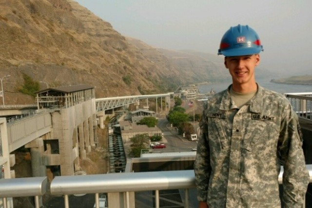 Cadet James Hoyt stands behind the Lower Granite's lock and Dam's Fish Ladder. Cadet Hoyt interned at the Walla Walla District of the Army Corps of Engineers and is studying mechanical engineering at Clarkson University in Potsdam, New York.