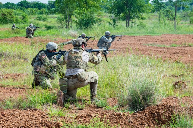 Idaho Army National Guard and Montana Army National Guard Soldiers from the 116th Cavalry Brigade Combat Team conduct a live-fire exercise with Royal Thai Army Soldiers at the Cavalry Center in Thailand's Saraburi province Aug. 28, 2018.
