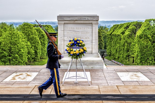 "A Soldier from the 3rd Infantry Regiment, ""The Old Guard"", stands watch over the Tomb of the Unknown Soldier at Arlington National Cemetery, Va., May 6, 2018."