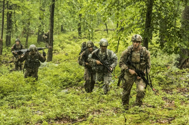 Army National Guard Soldiers from the Northeast Region at Infantry reclassification course 18-002 ruck march in the mountains during their final field training exercise at Camp Smith Training Site, Cortlandt Manor, N.Y., Aug. 13, 2018.