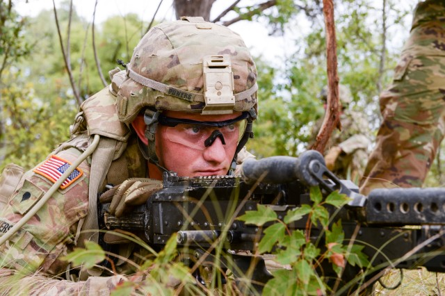 A Soldier from the Tennessee Army National Guard's 2nd Battalion, 278th Armored Brigade Combat Team trains at Fort Hood, Texas, Aug. 13, 2018 to prepare for a deployment to Poland in support of Atlantic Resolve.