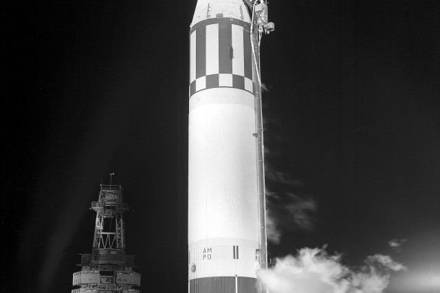 Jupiter (AM-18), suborbital primate flight with Able and Baker, being ready for launch from Cape Canaveral, Florid on May 28, 1959.