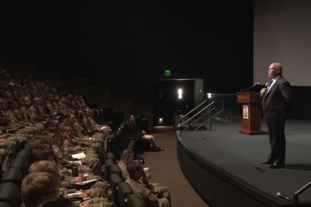 COLUMBUS, Ga. (Aug. 29, 2018) -- Retired Col. James R. Harper III, former U.S. Marine Corps judge advocate general, talks to Soldiers about ethics. The Maneuver Center of Excellence and 199th Infantry Brigade's Centennial Leadership Symposium at the National Infantry Museum at Columbus, Georgia, Aug. 29, focused on ethical leadership and trends in technology and markets. The audience, comprised mostly of Soldiers from Fort Benning, Georgia, listened to talks by Harper during a morning session and by Scott Uzzel, president of venturing and emerging brands at Coca-Cola, during an afternoon session. (U.S. Army video still by Shantika Ogletree, Maneuver Center of Excellence, Fort Benning Public Affairs)