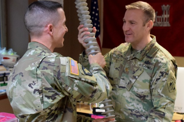 The U.S. Army Corps of Engineers Task Force Recovery, held a change of command Aug. 29, 2018, where Maj. Scotty Autin (R) assumed command of the Task Force Commander from Lt. Col. John D. Cunningham (L).
