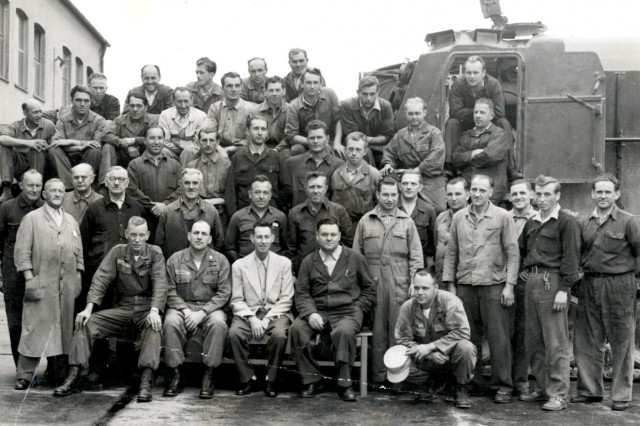Members of the Equipment Support Activity pose for a photo in 1955. The ESA is now the Maintenance Activity Vilseck a subordinate unit to what is now Theater Logistics Support Center-Europe, a multifunctional logistics brigade-level organization. The TLSC-E celebrated its 20th anniversary, July 2018.