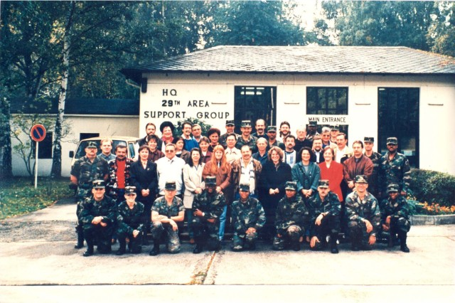 Capt. Steven A. Shapiro (front row, far left) poses for a photo with members of the 29th Area Support Group, circa 1995. The support group was a pre-cursor to the Theater Logistics Support Center-Europe which is now a brigade-level, multifunctional logistics organization subordinate to the 21st Theater Sustainment Command. The TLSC-E celebrated its 20th anniversary, July 2018. Presently, Shapiro is now a Major General and the commanding general of the 21st TSC.