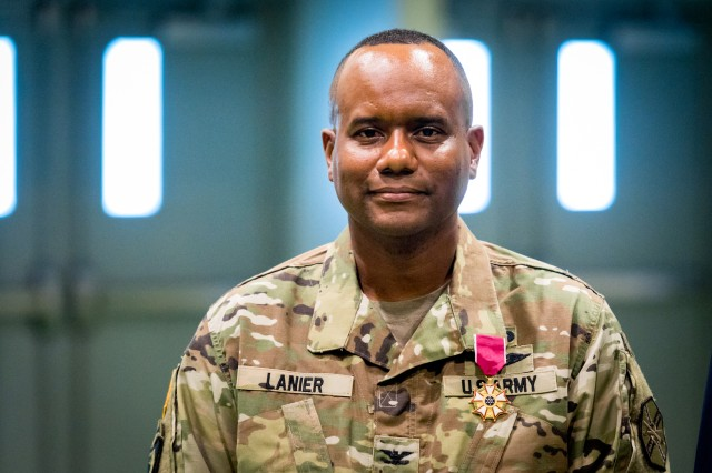 Col. Tracy Lanier, a native of Anniston, Alabama, poses for a photo after being awarded the Legion of Merit at Fort Leonard Wood's Nutter Field House July 10. Lanier served as the installation's garrison commander from July 2016 to July 2018.