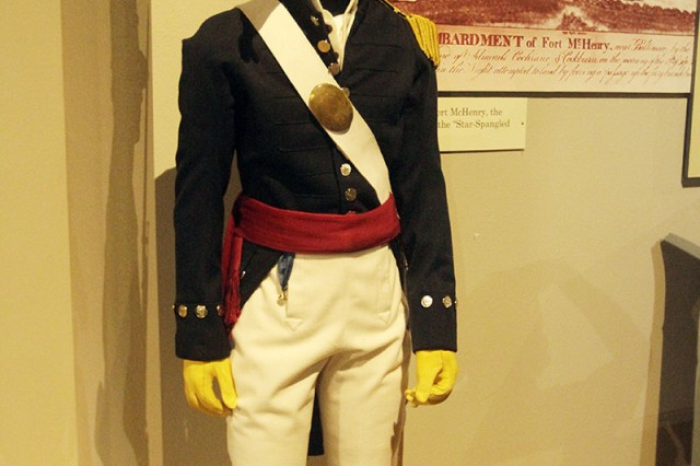 The U.S. Army Field Artillery Museum has a new uniform in its War of 1812 exhibit, made by two craftsmen, Steve Abolt of Allegheny Arsenal. Ga., and Mark Hilliard, Heart of Oak, N.H.