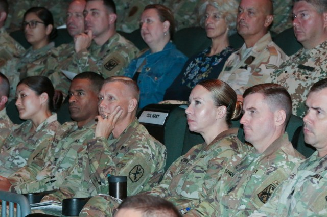 COLUMBUS, Ga. (Aug. 31, 2018) - Maj. Gen. Gary M. Brito, commanding general of the Maneuver Center of Excellence and Fort Benning, and Teresa Tomlinson, mayor of Columbus, Georgia, served as keynote speakers during the fourth and final day Aug. 30 of the Centennial Leadership Symposium, hosted by the 199th Infantry Brigade and the Maneuver Center of Excellence. (U.S. Army photo by Markeith Horace, Maneuver Center of Excellence, Fort Benning Public Affairs)