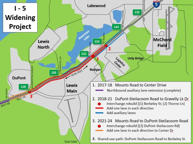 Interstate 5 widening project by JBLM moves into stage 2