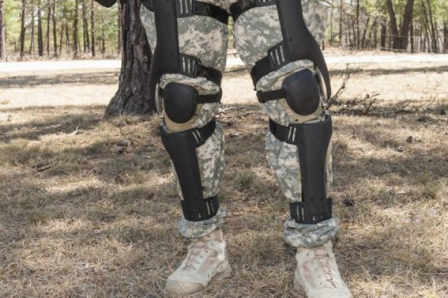 A Soldier tests a kinetic knee harvester during an energy-harvesting technology demonstration at Fort Devens, Mass.