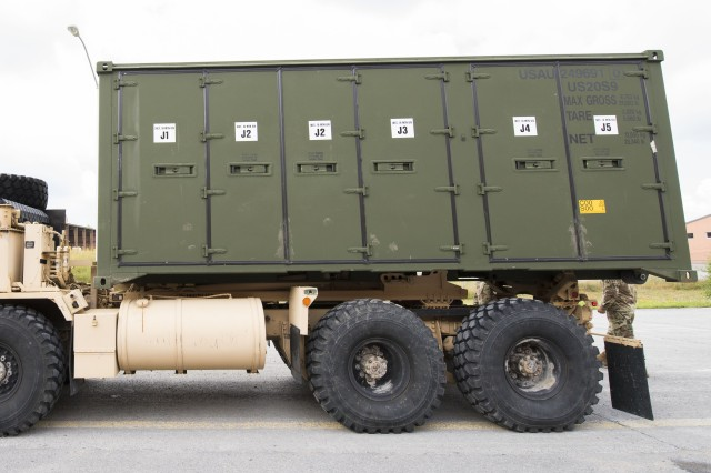 """A new container known as a Field Pack Unit is loaded on the back of a truck at a 10th Mountain Division site, Fort Drum, New York. Containers like these have replaced hundreds of older, less mobile containers used by brigade combat teams as part of an initiative to modernize supply support capabilities across the Army. These containers were discussed at the U.S. Army Sustainment Command's quarterly update with Gen. Gustave """"Gus"""" Perna, commanding general, U.S. Army Materiel Command, August 29."""