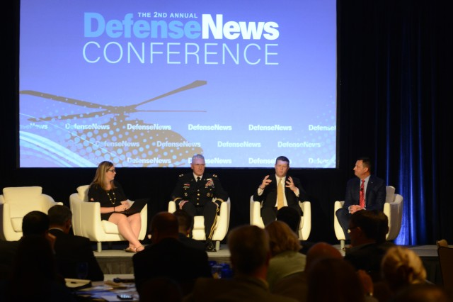 Army leaders discuss modernization and Army Futures Command. From left are: moderator Jen Judson, Land Warfare Reporter with Defense News; Gen. John M. Murray, commander, Army Futures Command; Under Secretary of the Army Ryan McCarthy; and, Vince Tobin, executive vice president, Military Business, Bell.