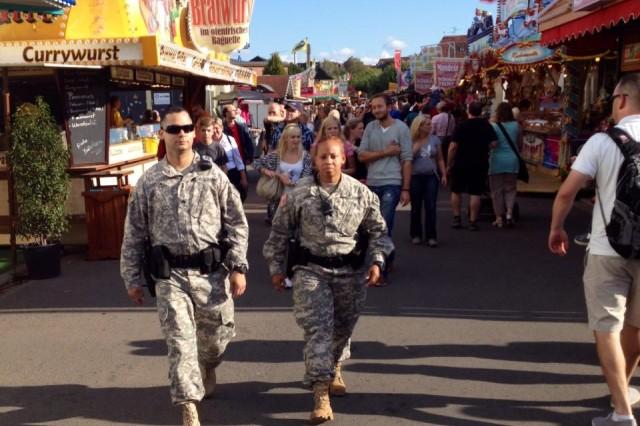 Military police with U.S. Army Garrison Rheinland-Pfalz Directorate of Emergency Services patrol the annual Bad Dürkheim wine festival offering assistance to those in need.
