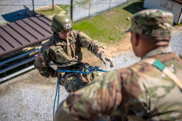 A U.S. Army Infantry Soldier-in-training assigned to Alpha Company, 1st Battalion, 19th Infantry Regiment, 198th Infantry Brigade, rappels off Eagle Tower March 4, 2017, at Fort Benning, Ga., during One Station Unit Training.