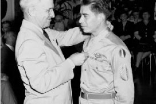 President Harry Truman awards the Medal of Honor to Army Staff Sgt. Macario Garcia in 1945.