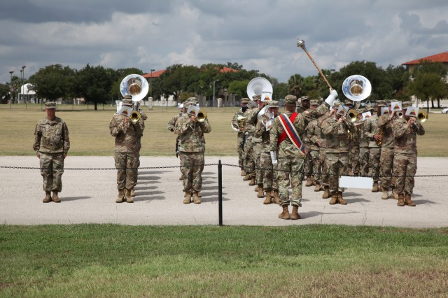 The First Armored Division Army Band played during the IMCOM change of command ceremony Sept. 5 at JBSA-Fort Sam Houston.