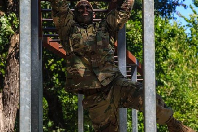 Sgt. Devin Crawford completes tasks during the 2018 Drill Sergeant of the Year competition, held at Fort Sill, Okla.