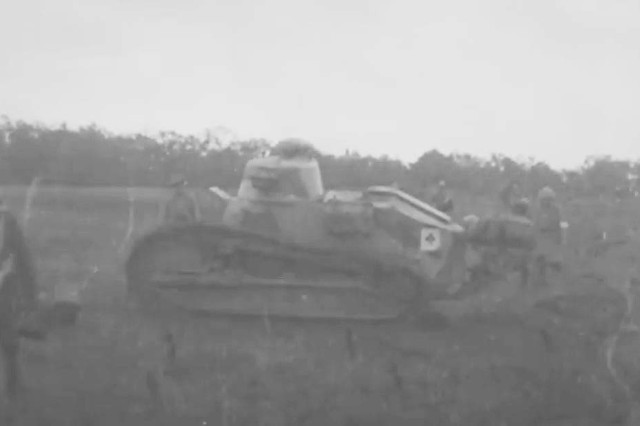 "An American light tank advances in support of the 42nd ""Rainbow Division"" during the Saint-Mihiel Offensive, Sept. 12-16, 1918 in this still from a 1918 Army Signal Corps film."