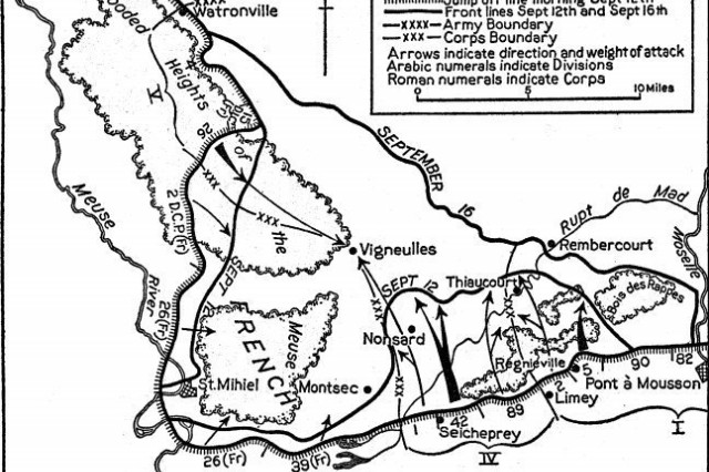 This map illustrates the First U.S. Army attack on the Saint-Mihiel salient in September 1918.