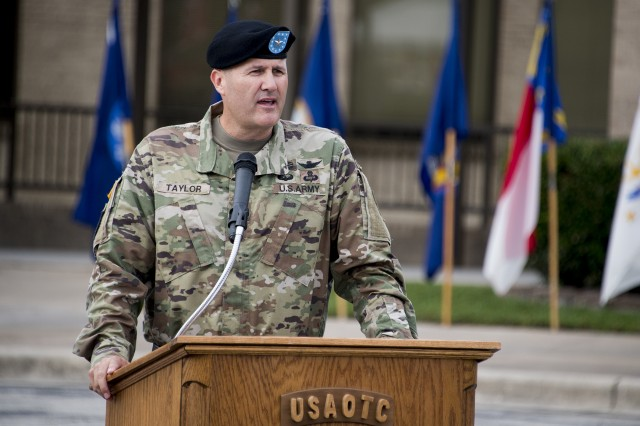 "Incoming U.S. Army Operational Test Command Commander Brig. Gen. William D. ""Hank"" Taylor gives his remarks at USAOTC change of command ceremonies Thursday, Sept. 6."
