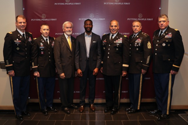 Birmingham, Ala., Mayor Randall Woodfin, fourth from left, with Gen. Gus Perna, commander of the Army Materiel Command, and other military leaders following a introductory meeting at Birmingham City Hall as part of a Meet Your Army event. With the two leaders are, from left, Col. Gavin Gardner, Lt. Col. Sean Kelly, civilian aide to the Secretary of the Army Joe Fitzgerald, Command Sgt. Maj. Rodger Mansker and Col. Rich Spiegel.