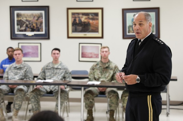 During Meet Your Army events in Birmingham Aug. 22, Gen. Gus Perna, commander of the Army Materiel Command, meets with a group of about 30 ROTC cadets at the University of Alabama at Birmingham.