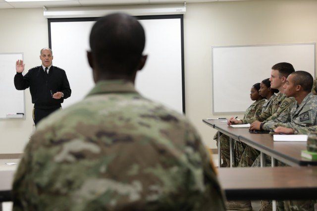 Gen. Gus Perna, commander of the Army Materiel Command, talks to ROTC cadets at the University of Alabama at Birmingham about the meaning of they oath they take when they commission as Army officers. His visit to UAB ROTC was part of a series of meetings that were part of a Meet Your Army event Aug. 22, 2018.