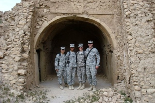 Lt. Col. Hundertmark, second from the right, with colleagues visiting the former St Elijah's Monastery, or Deir Mar Elia, near Mosul, Iraq in 2009. The 6th century monastery was later completely destroyed by the Islamic State during its occupation of the area in 2014. Photo courtesy of Lt. Col. Hundertmark.