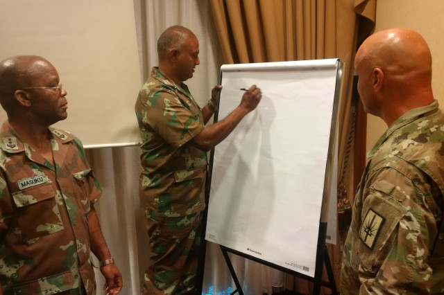 Lt. Col. Scott Ehler, the chief chaplain for the New York National Guard (right) brain storms with two African military chaplains during a meeting of American and African chaplains conducted as part of the National Guard State Partnership Program on August 21, 2018 at Garmisch-Partenkirchen, Germany. Chaplains from various African nations militaries met with each other and their American National Guard counterparts as part of a State Partnership Program Chaplain Strategic Synchronization Working Group, hosted by U.S. Africa Command.