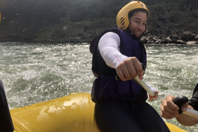 CHERWON, Republic of Korea - Pfc. Audrey N. McMain, native of Susanville, California and chemical, biological, radiological, nuclear specialist, Headquarters Support Company, 2nd Infantry Division/ROK-U.S. Combined Division paddles through the rapids of the Hantan River. The 2ID/RUCD Unit Ministry Team hosted a whitewater rafting trip for members of the Warrior Division to encourage team building, resilience, and spiritual fitness on the Hantan River Sept. 7.