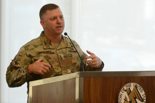 """Maj. Gen. William K. Gayler, commander, U.S. Army Aviation Center of Excellence and Fort Rucker, speaks at an Association of the U.S. Army's """"hot topics"""" forum on Army aviation Sept. 5, 2018."""