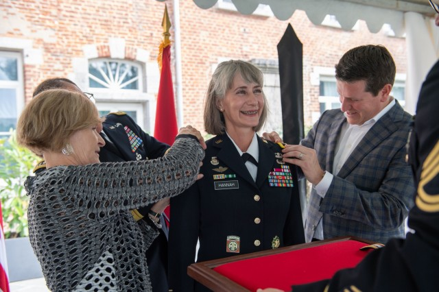 Brig. Gen. Amy Hannah, chief of SHAPE Public Affairs, accepts the rank of brigadier general during her promotion ceremony Sept. 5, 2018. Brig. Gen. Hannah has served in the military for 27 years and is a native of Findlay, Ohio. (NATO photo by Tech. Sgt. Cody H. Ramirez, USAF)