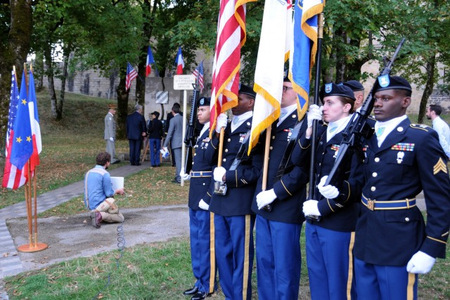 A color guard, from the 21st Theater Sustainment Command, represents the United States during a plaque dedication ceremony for Robert D. Maxwell, the oldest living Medal of Honor recipient, Sept. 7, 2018 in Besancon, France. Maxwell was able to watch the ceremony via Skype as French and American Soldiers unveiled a plaque honoring him for his heroic actions Sept. 7, 1944. (U.S. Army photo by Sgt. Benjamin Northcutt, 21st Theater Sustainment Command) #FirstInSupport #StrongEurope