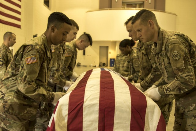 New York Army National Guard Soldiers simulate a flag dress part during the casket carry sequence with guidance from course trainers at the 40-hour Level One Military Funeral Honors Course at Camp Smith Training Site, Cortlandt Manor, N.Y., Aug. 30, 2018. This physically demanding course is designed to train and test Soldiers' abilities at the nine unique positions of the modified military funeral honors expected for service members who have not be dishonorable discharged.
