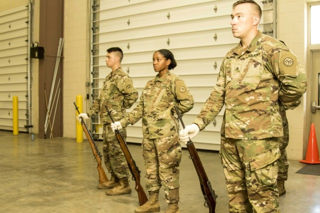 New York Army National Guard Soldiers stand in a Military rest position during the 40-hour Level One Military Funeral Honors Course at Camp Smith Training Site, Cortlandt Manor, N.Y., Aug. 30, 2018. This physically demanding course is designed to train and test Soldiers' abilities at the nine unique positions of the modified military funeral honors expected for service members who have not be dishonorable discharged.